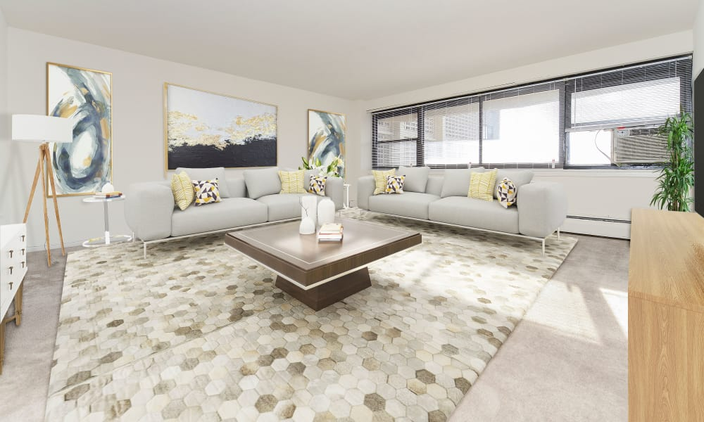 Spacious Living Room at Riverside Towers Apartment Homes in New Brunswick, New Jersey