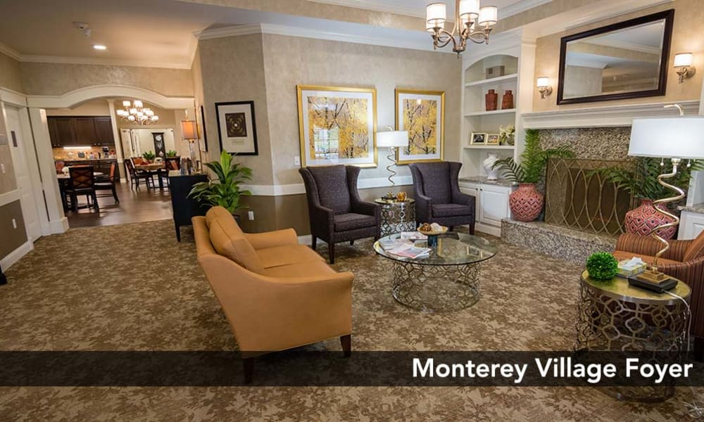 Foyer leading to community kitchen & dining area at Monterey Village Senior Living in Lawrence, Kansas