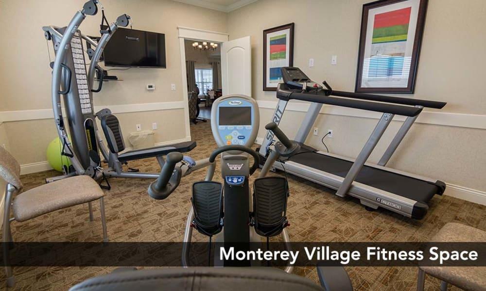 Fully equipped Fitness center at Monterey Village Senior Living in Lawrence, Kansas