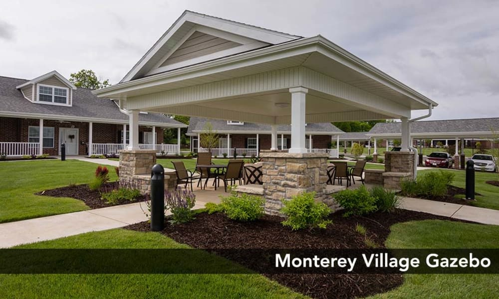 Monterey Village Senior Living offers a beautifully landscaped community area for Residents in Lawrence, Kansas