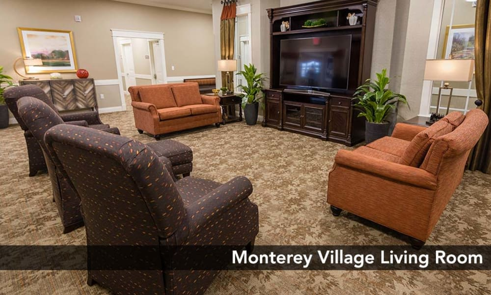 Open Living room great for entertaining guests at Monterey Village Senior Living in Lawrence, Kansas