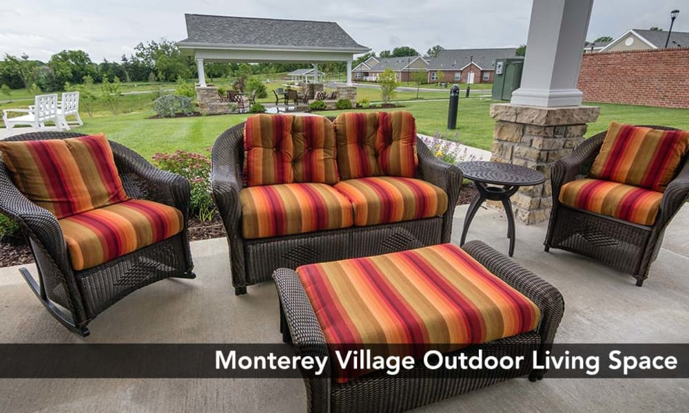 Nicely furnished outdoor living space at Monterey Village Senior Living in Lawrence, Kansas