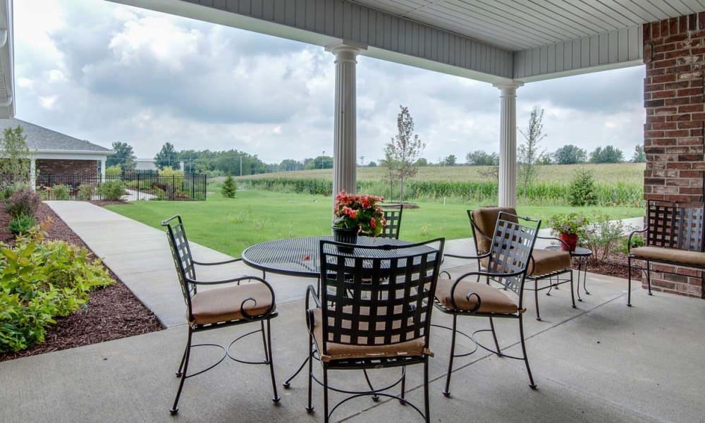Covered Patio at Monterey Village Senior Living offers great views in Lawrence, Kansas