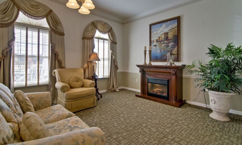 Fireplace lounge at Capetown Senior Living in Cape Girardeau, Missouri