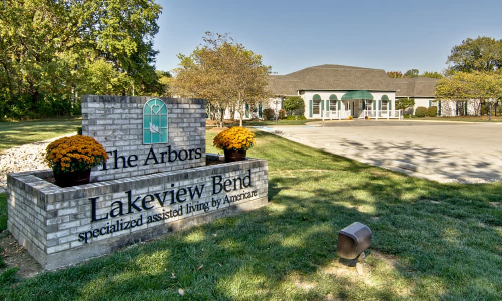 Welcome sign at The Arbors at Lakeview Bend in Mexico, Missouri