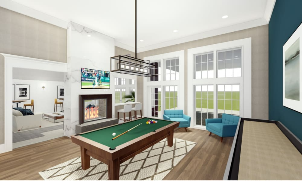 Pool table and fireplace at Park West
