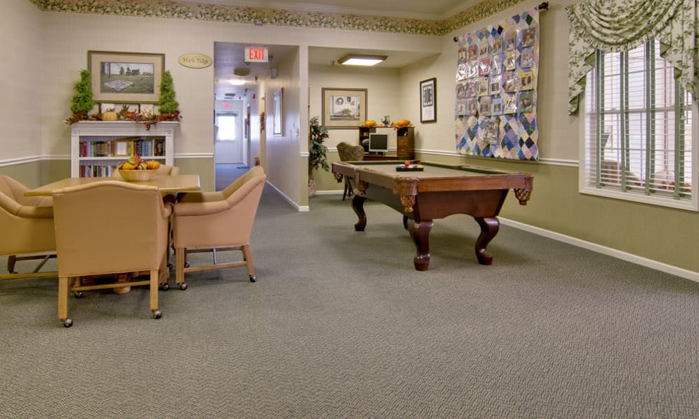 Game room at Teal Lake Senior Living in Mexico, Missouri