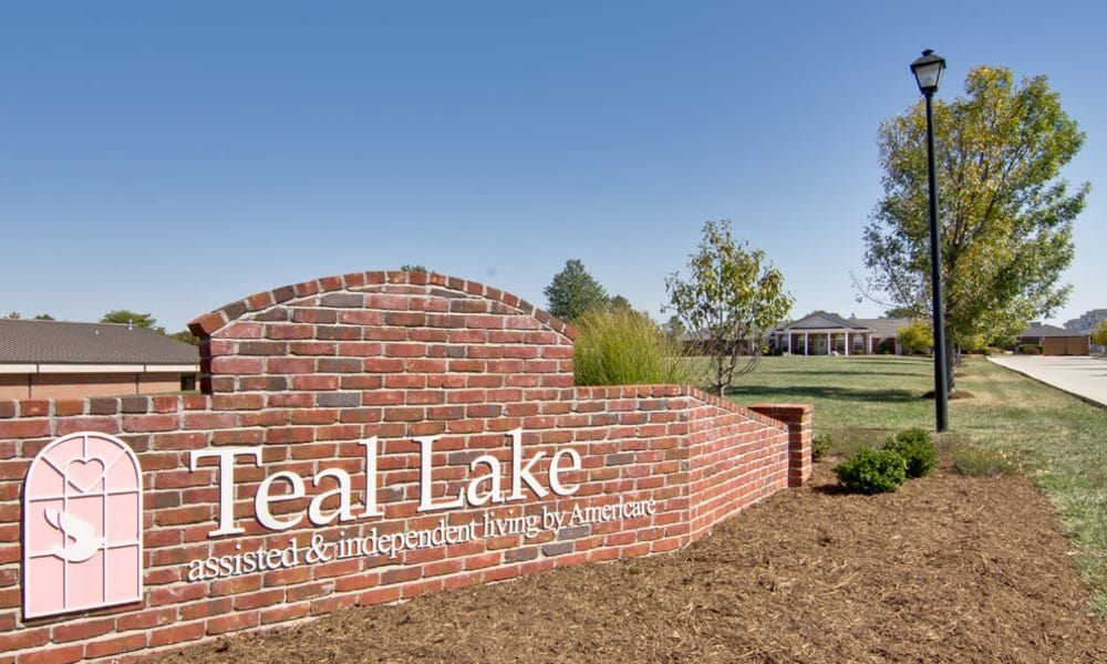 Welcome sign at Teal Lake Senior Living in Mexico, Missouri