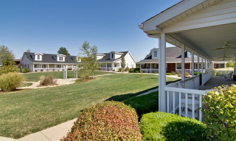 front yard with sprawling greens at Teal Lake Senior Living in Mexico, Missouri