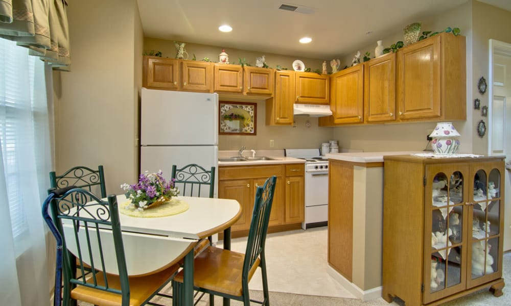 Model kitchen at Ravenwood Terrace Senior Living in Moberly