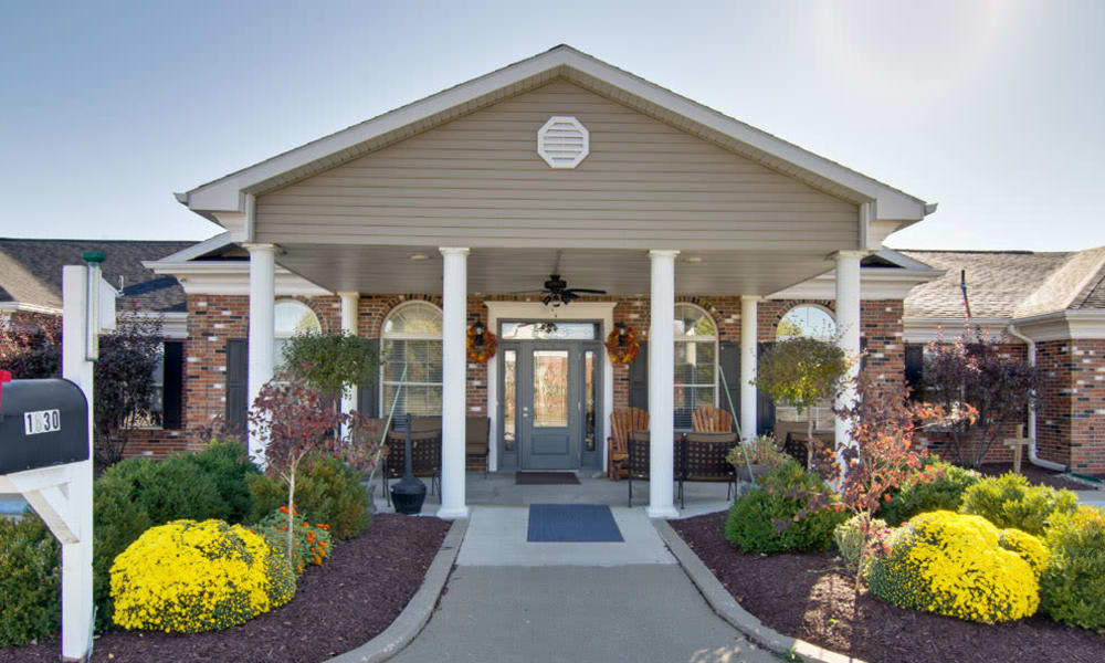 Front entrance at Ravenwood Terrace Senior Living in Moberly, Missouri