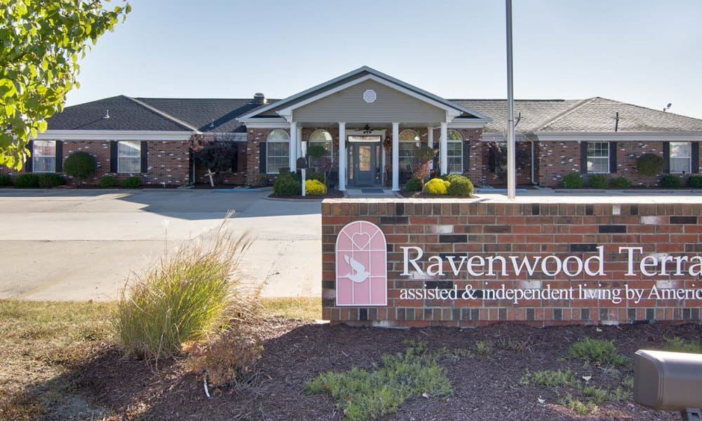 Branding and Signage outside of Ravenwood Terrace Senior Living in Moberly, Missouri