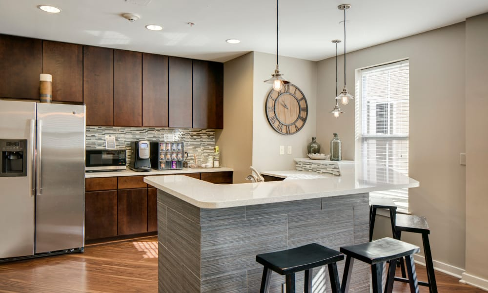 Spacious kitchen with custom cabinetry at The Quarters at Towson Town Center in Towson, Maryland