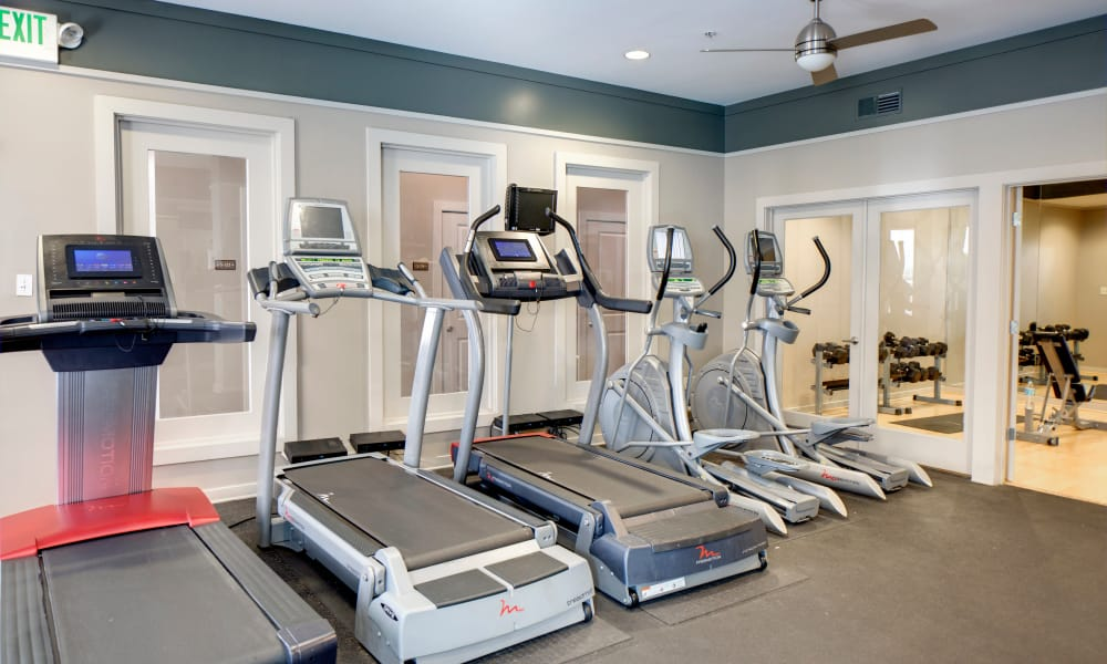 Spacious fitness center at The Quarters at Towson Town Center in Towson, Maryland