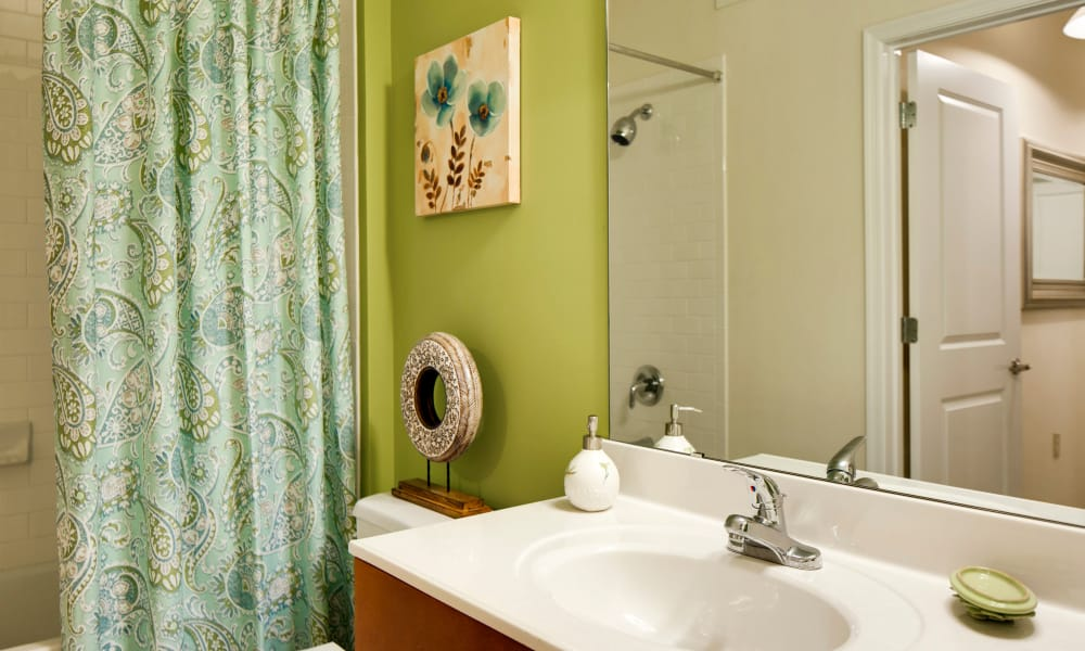 Newly renovated bathroom at The Quarters at Towson Town Center in Towson, Maryland