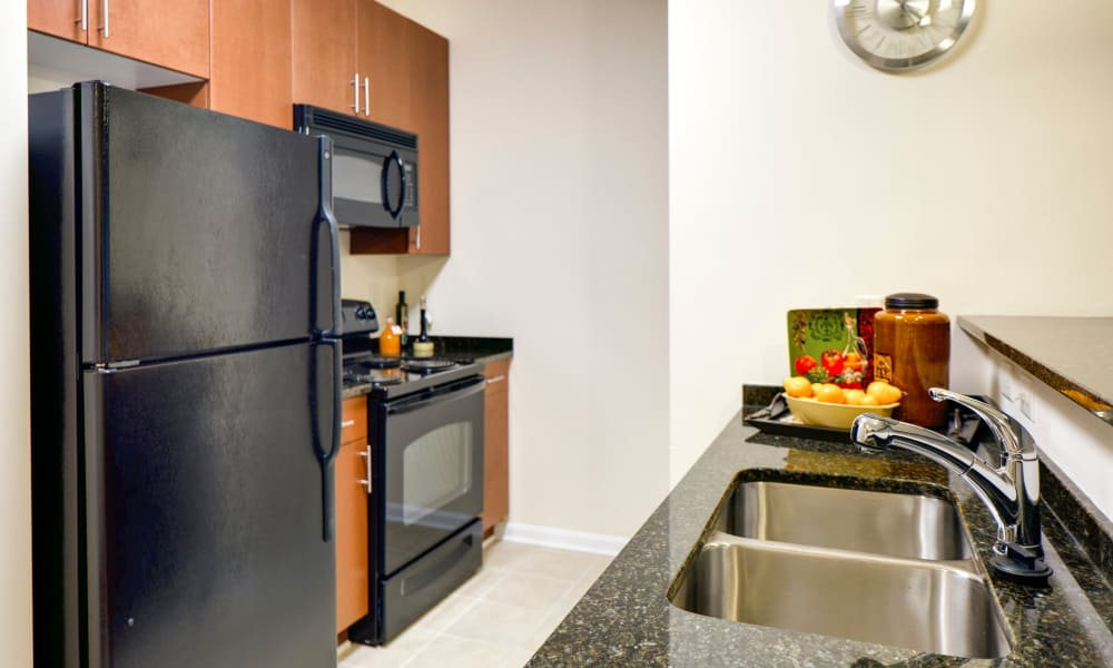 Kitchen with sleek black appliances at The Quarters at Towson Town Center in Towson, Maryland