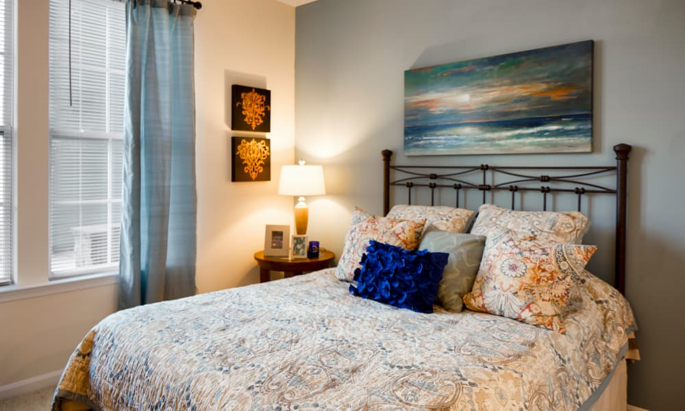 Beautiful bedroom at The Quarters at Towson Town Center in Towson, Maryland