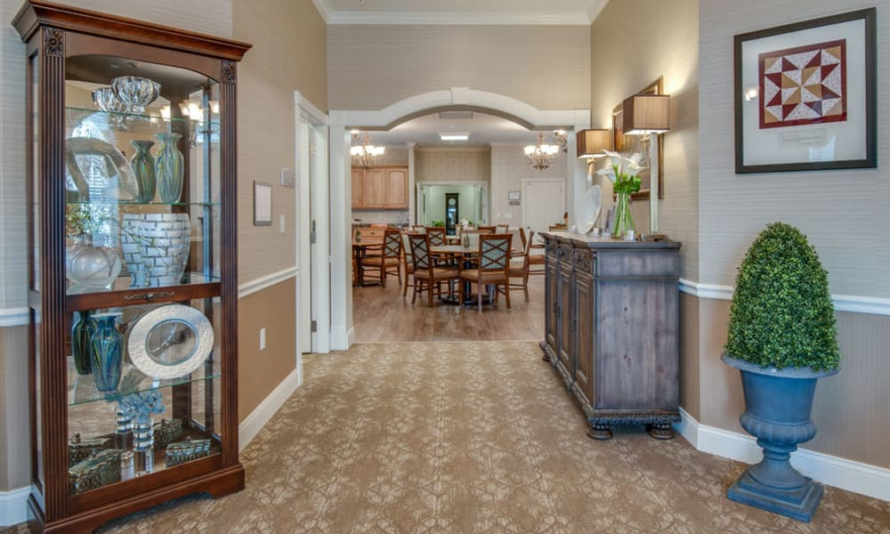 Hallway to the dining room at Centennial Pointe Senior Living in Springfield, Illinois