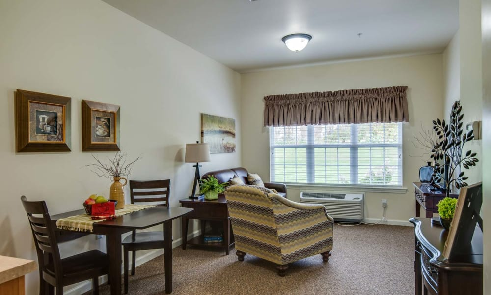 Model living space at Centennial Pointe Senior Living in Springfield, Illinois