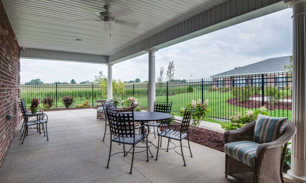 Back patio at Centennial Pointe Senior Living in Springfield, Illinois