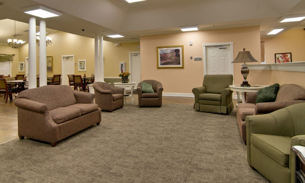 Carpeted seating area at Parkway Gardens Senior Living in Fairview Heights, Illinois
