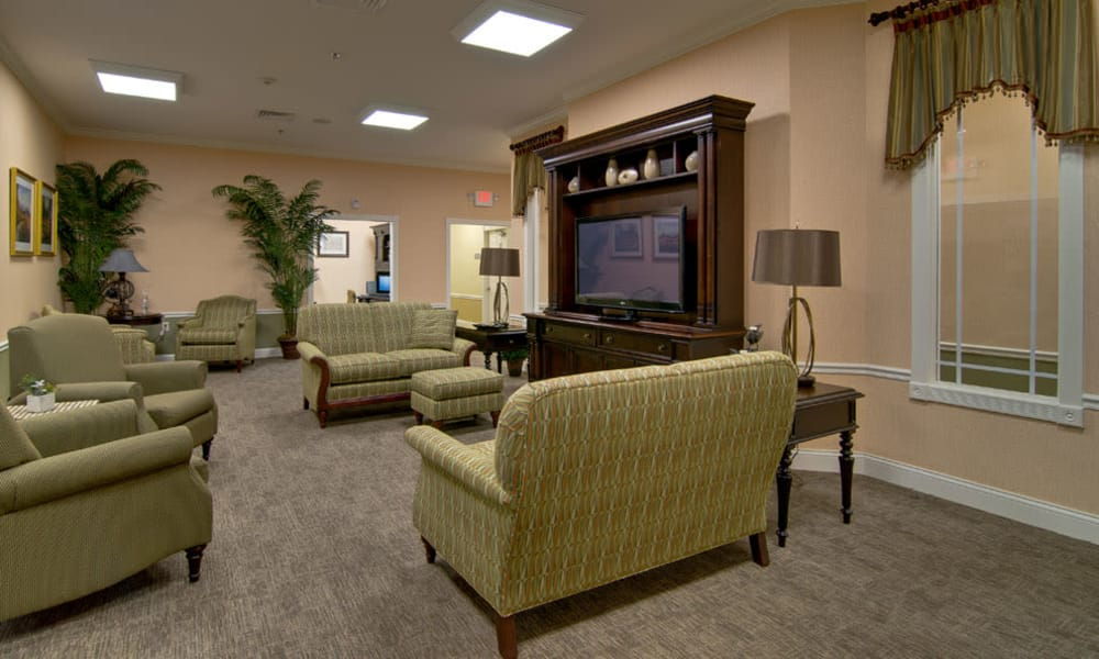 TV area at Parkway Gardens Senior Living in Fairview Heights, Illinois