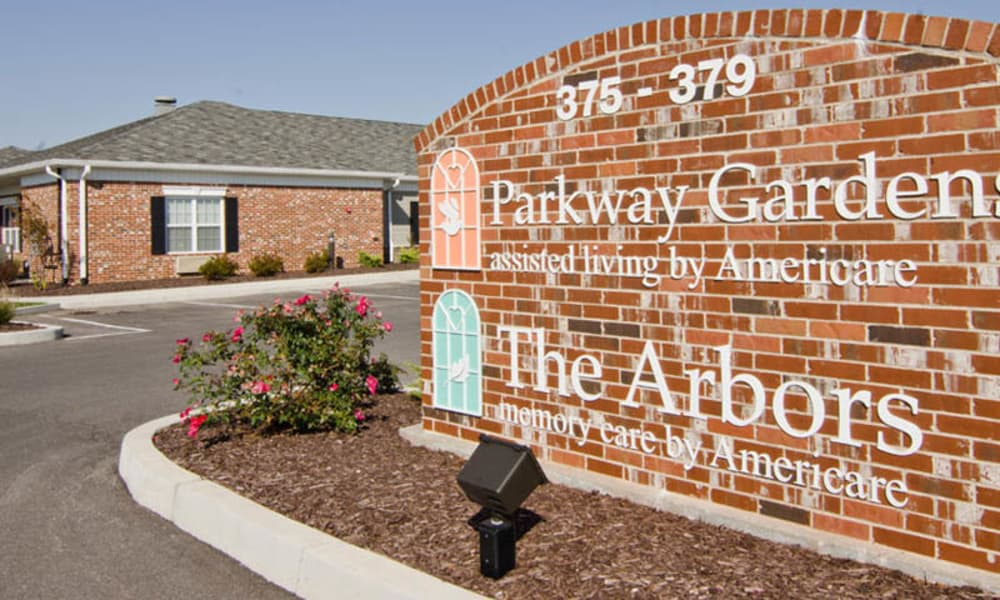 Signage outside of Parkway Gardens Senior Living in Fairview Heights, Illinois