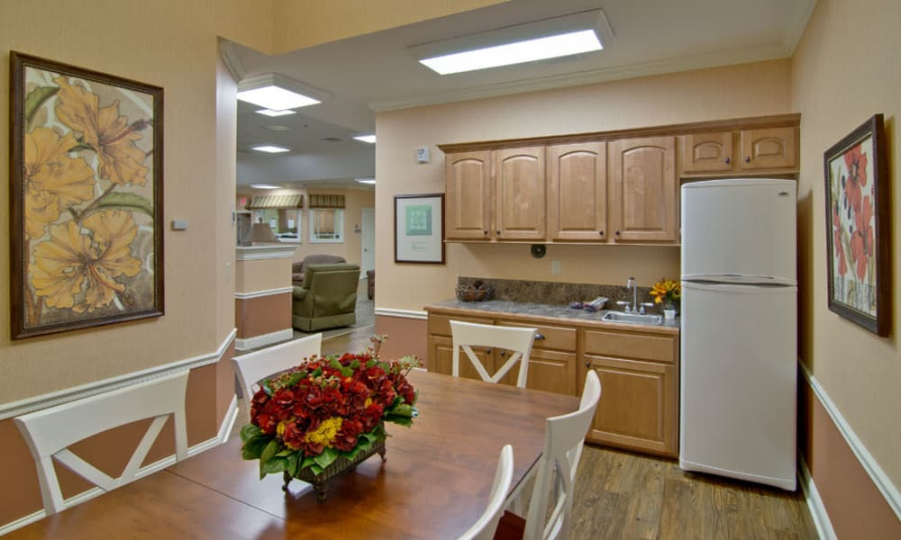 Accessible community kitchen at Parkway Gardens Senior Living in Fairview Heights, Illinois