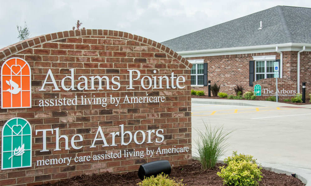 Signage at Adams Pointe Senior Living in Quincy, Illinois