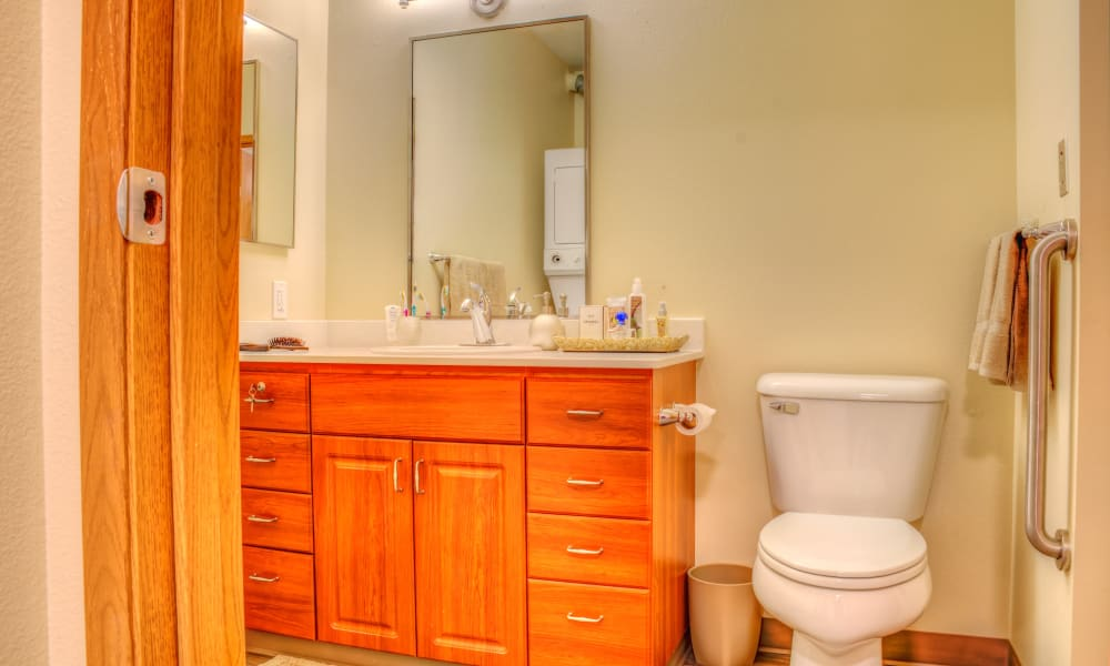 Bathroom set up at The Creekside in Woodinville, Washington