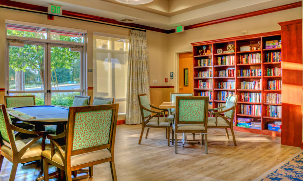 Bookcase with seating area at The Creekside in Woodinville, Washington