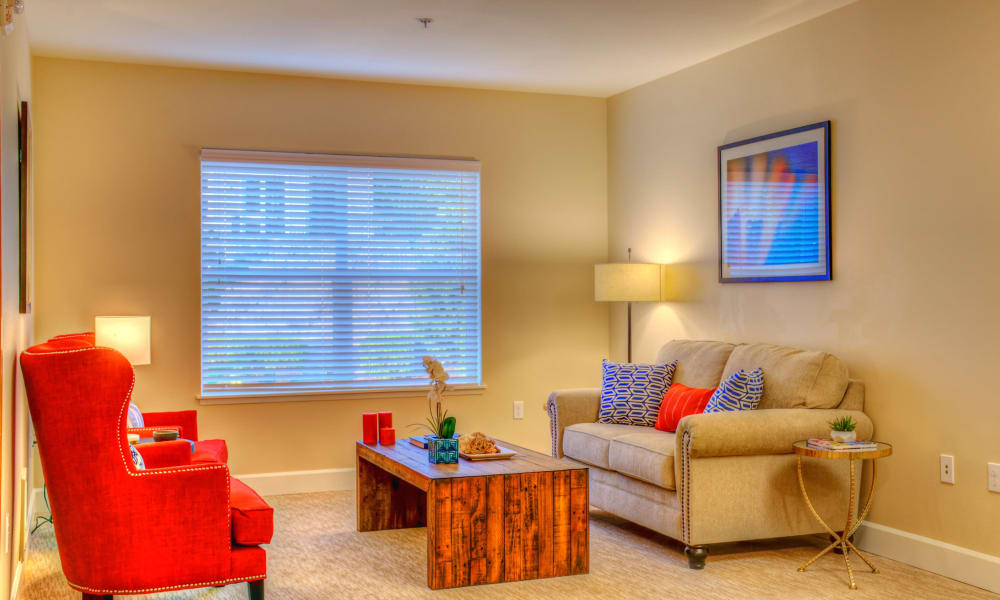 Interior of bedroom at The Creekside in Woodinville, Washington