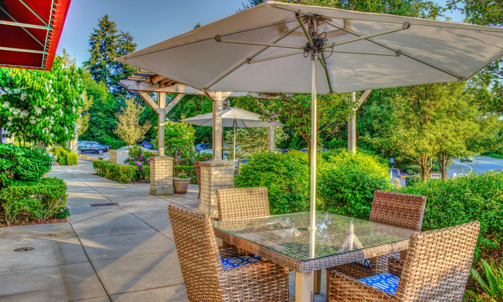 Outdoor seating area at The Creekside in Woodinville, Washington
