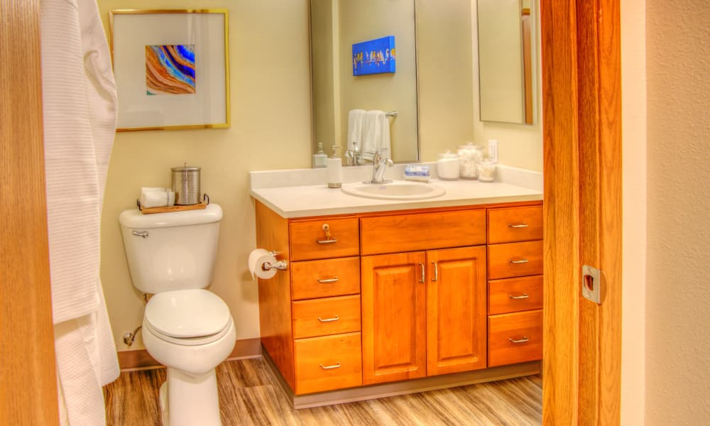 Personal bathroom at The Creekside in Woodinville, Washington