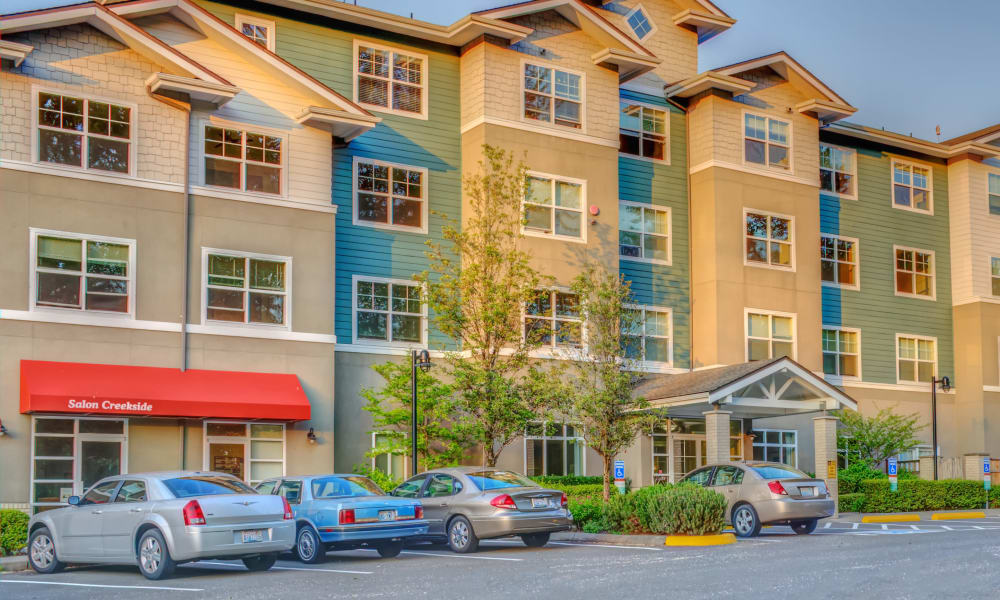 Sun shining on front of building at The Creekside in Woodinville, Washington