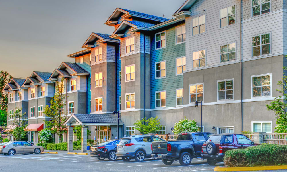 Filled parking lot at The Creekside in Woodinville, Washington