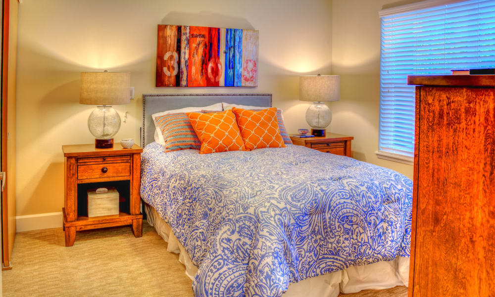 Comfy bed at The Creekside in Woodinville, Washington