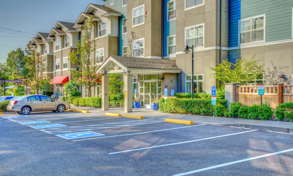 View of the entrance at The Creekside in Woodinville, Washington