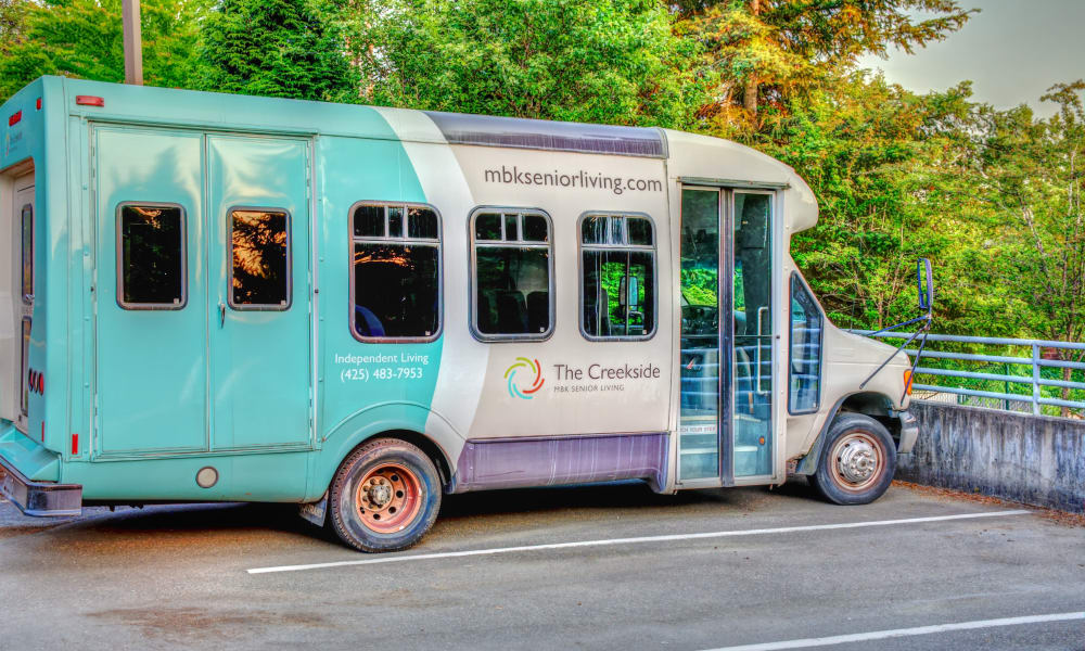 Colorful bus for transportation at The Creekside in Woodinville, Washington