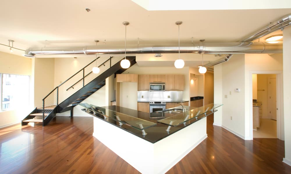 Inside view of model apartment at 17th Street Lofts in Atlanta, Georgia
