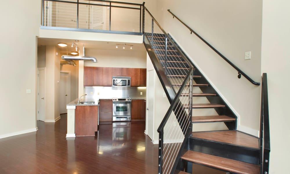 Stairs at model apartment at 17th Street Lofts in Atlanta, Georgia