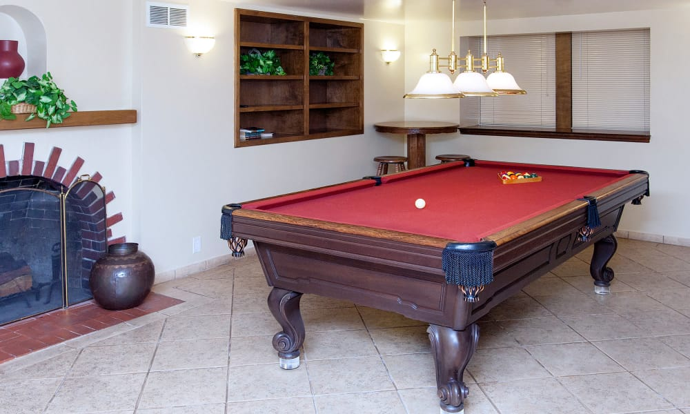 Billiards table and ceramic tile floors in resident clubhouse at The Arlington in Burlingame, CA