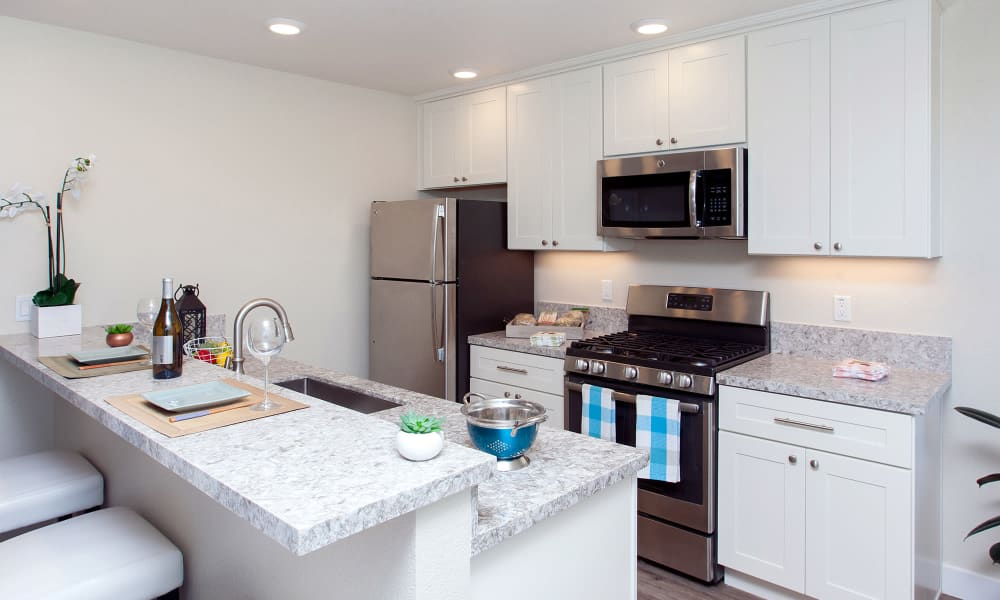 Stainless-steel appliances and granite countertops in modern kitchen of model home at The Arlington in Burlingame, CA