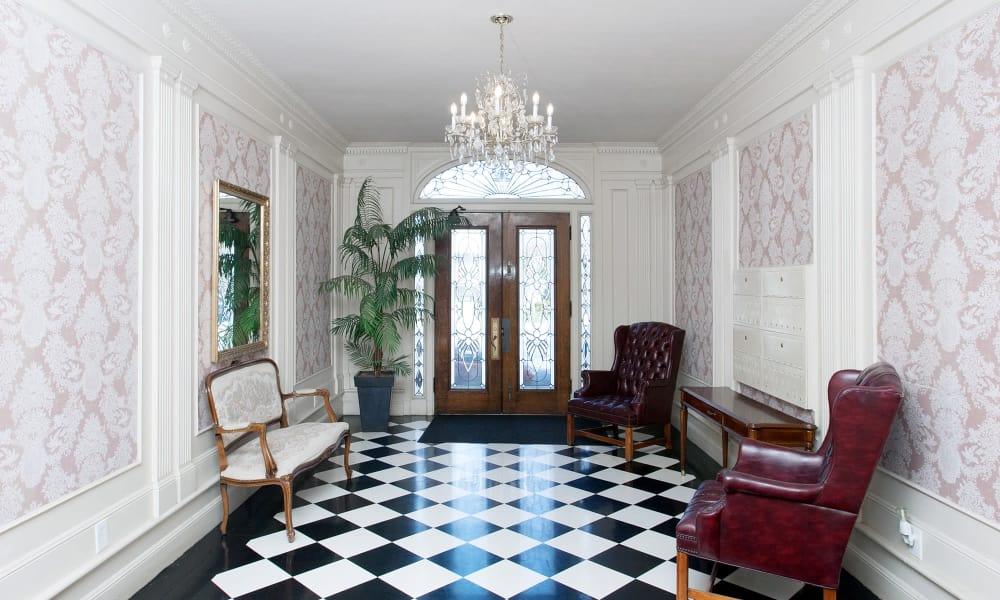 Classic architecture in interior entryway to The Arlington in Burlingame, CA
