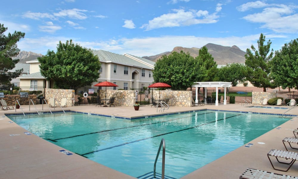 Resort style pool at The Patriot Apartments in El Paso, Texas