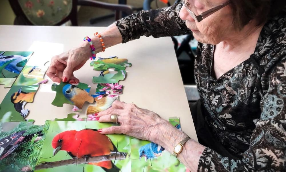 senior woman completing a puzzle