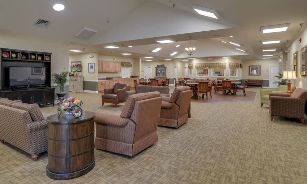 Entertainment room with comfortable seating at Westbrook Terrace Senior Living in Jefferson City, Missouri