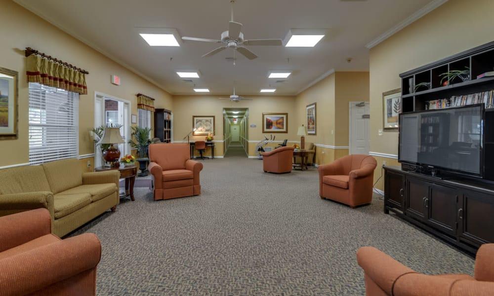 Entertainment center at Westbrook Terrace Senior Living in Jefferson City, Missouri