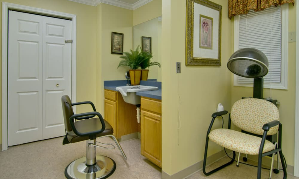 Hair salon at Bluff Creek Terrace Senior Living in Columbia, Missouri