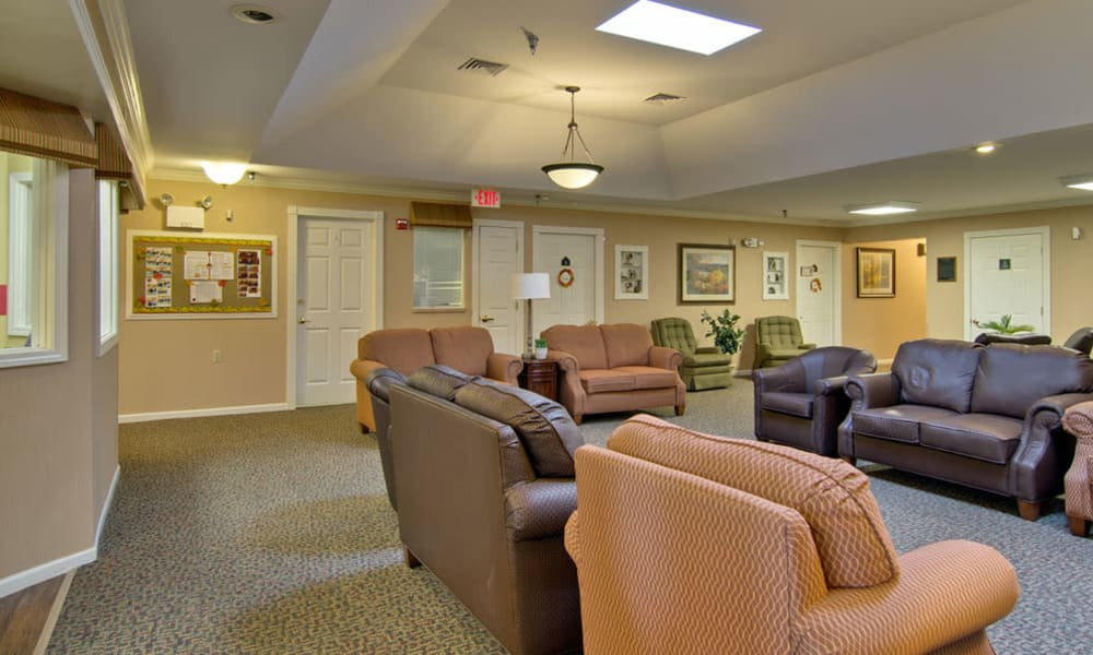 Comfortable lounge at Bluff Creek Terrace Senior Living in Columbia, Missouri